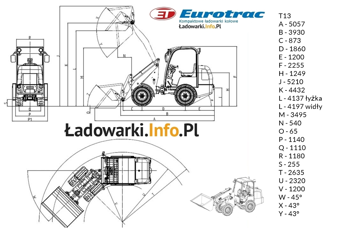 Eurotrac T13 - wymiary1