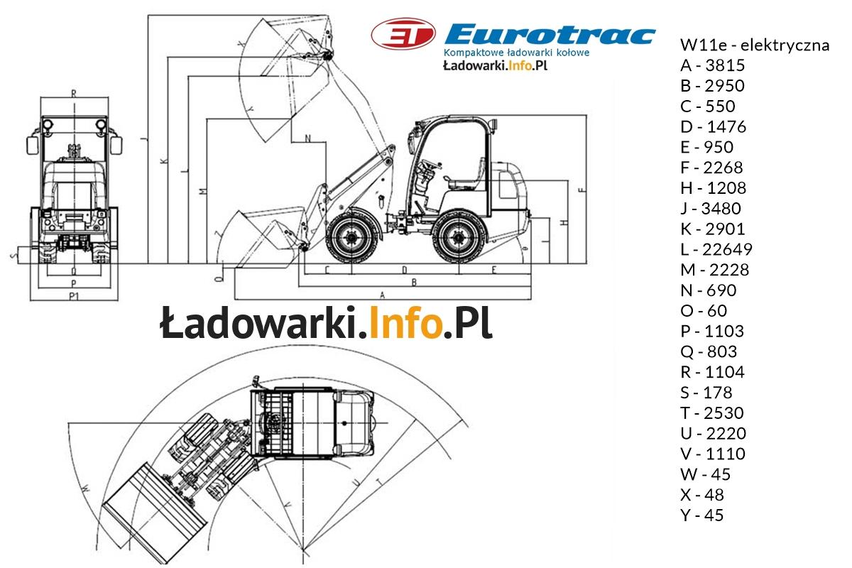 Eurotrac -W11E - elektryczna - wymiary